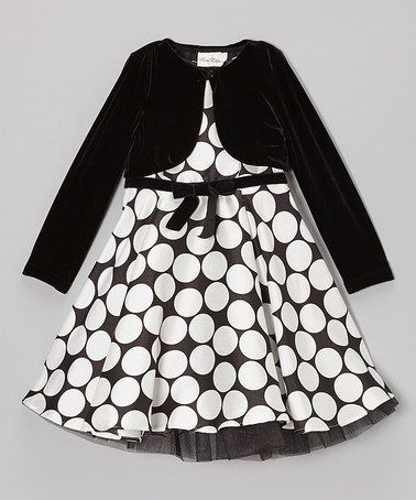 Take a look at this Black & White Dot Dress & Velvet Jacket - Girls by Rare Editions on #zulily today!