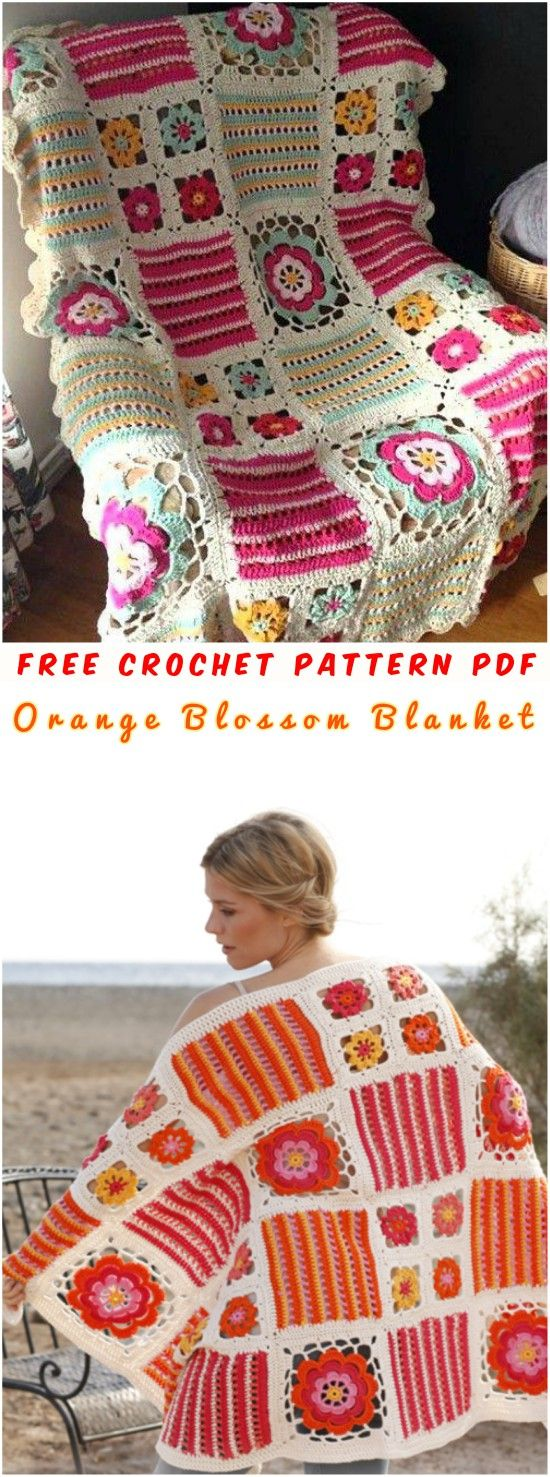 Free Crochet Pattern in PDF and extra tutorials This project has perfectly described, all materials and technique how to start, crochet the flowers, stripes and