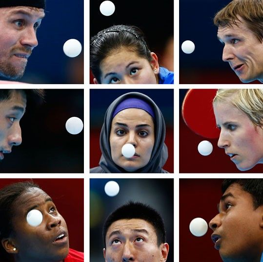 Table tennis players watch the ball during the London 2012 Olympic Games. Top row (L to R): Denmark's Michael Maze, Brazil's Caroline Kumahara, Austria's Werner Schlager. Middle row: China's Zhang Jike, Iran's Neda Shahsavari, Germany's Kristin Silbereisen. Bottom row: Colombia's Paula Medina, South Korea's Oh Sangeun, India's Soumyajit Ghosh.