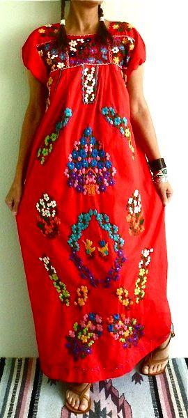 Vestidos hermoso bordado mexicano