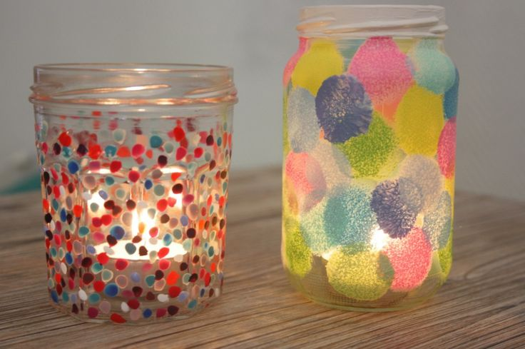 DIY : recycler un pot de confiture en photophore à pois