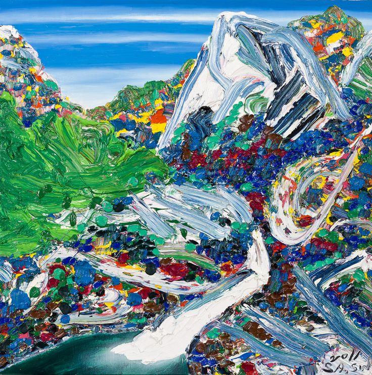 금강산 무봉폭포, 100x100cm, Oil on canvas, 2011, SUK-WON SA