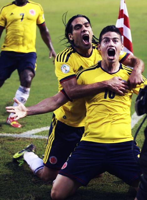 Colombia's team players. James Rodríguez + Radamel Falcao.