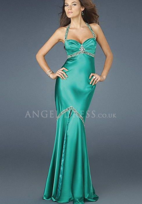 Fit n flare evening dress green