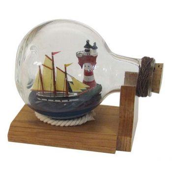 Maritmes Buddelschiff-Flaschenschiff mit Schiff und Leuchtturm für den maritimen Sammler und als schöne Geschenkidee  KEINE VERSANDKOSTEN INNERHALB DEUTSCHLANDS!!
