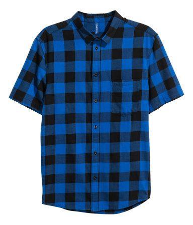 Kortärmad flanellskjorta | Blå/Rutig | Herr | H&M SE