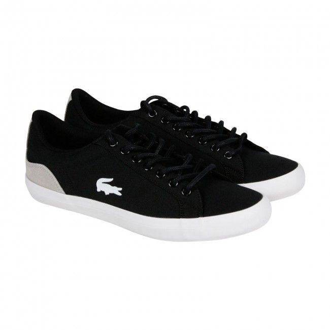 Lacoste Lerond SEP Mens Black Canvas Lace Up Sneakers Shoes