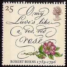 Robert Burns - The Immortal Memory 25p Stamp (1996) 'O my Luve's like a red, red rose' and Wild Rose