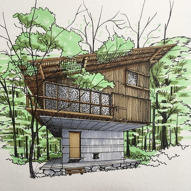 A house designed by architect Jyunzo Yoshimura as drawn by @k.t.arch #ArchiSketcher