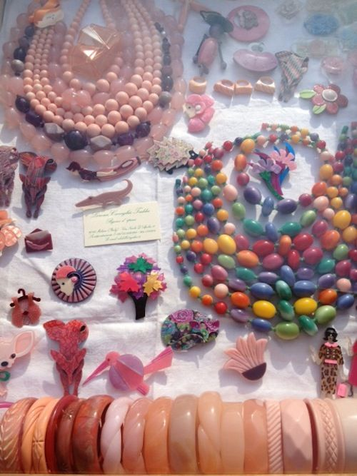 Milan Flea Market= Short Strand Of Peach Beads, Round Peach Ring, Beveled Peach Bracelet 3rd from Right/