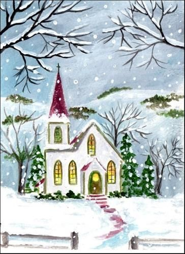 """""""Little Country Church"""" - Original Fine Art for Sale - © Patricia Ann Rizzo http://www.dailypaintworks.com/fineart/patricia-ann-rizzo/little-country-church/179597"""