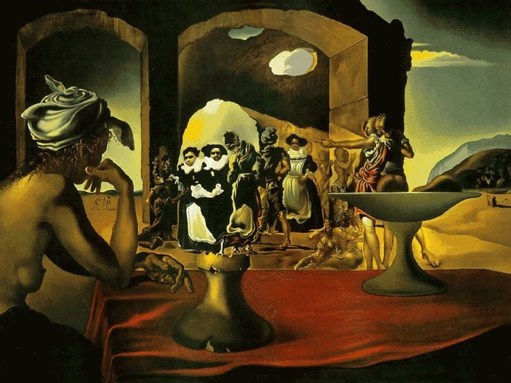 Slave Market with Disappearing Bust of Voltaire, 1940, Salvador Dali