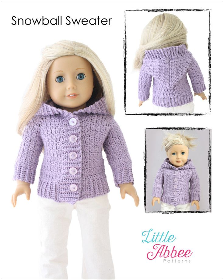 Little Abbee Snowball Sweater Doll Clothes Pattern 18 inch American Girl Dolls | Pixie Faire