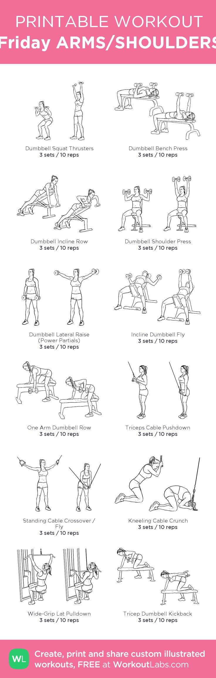 Friday ARMS/SHOULDERS: my custom printable workout by @WorkoutLabs #workoutlabs #customworkout