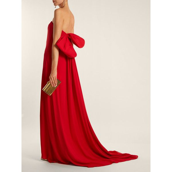 Oscar De La Renta Bow-detail strapless silk gown ($3,294) ❤ liked on Polyvore featuring dresses, gowns, red evening gowns, red gown, strapless corset, red corset and floor length gowns