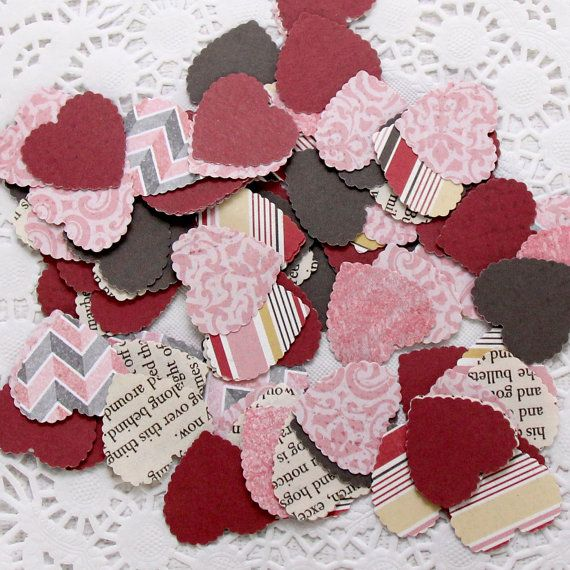 Mixed Paper Mini Heart Shapes Vintage and by PreciousPaperStudio