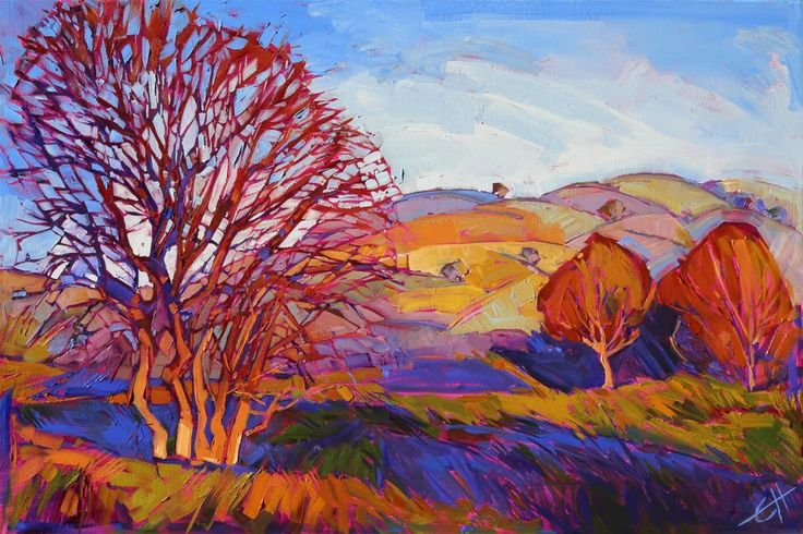 Landscape Paintings and photographs : Wine Country California Impressionism Original Oil Painting Paso Robles Erin Han