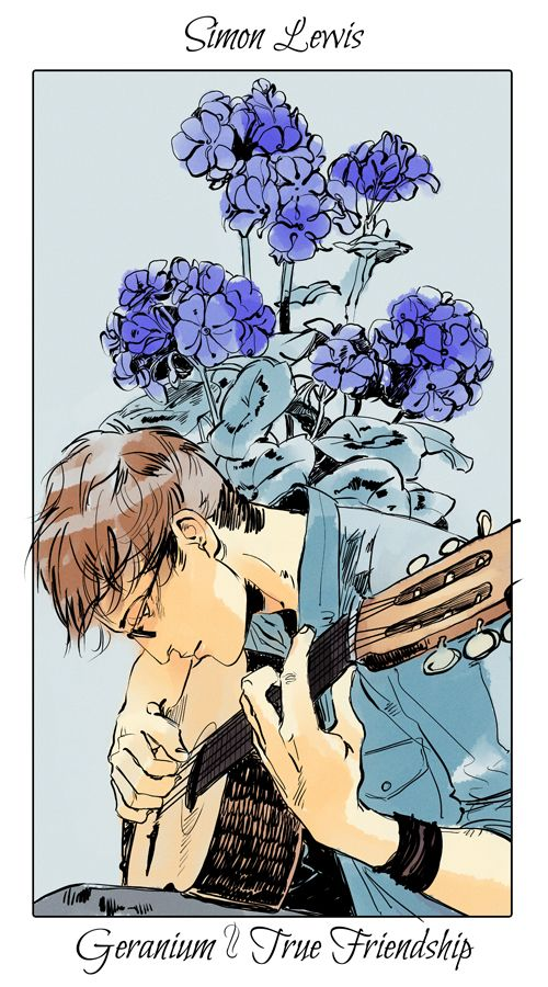 Simon with a geranium, The language of flowers (picked by C.Clare, art by C.Jean)