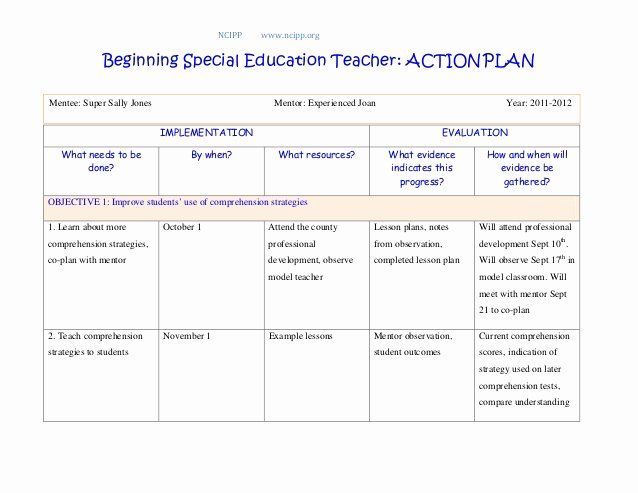 Sample Action Plan For Teachers Fresh Action Plan Action Plan