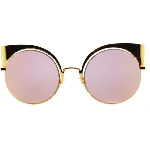 Fendi Eyeshine FF 0177 001 Yellow Gold Cat-Eye Metal Sunglasses (£300) ❤ liked on Polyvore featuring accessories, eyewear, sunglasses, glasses, extras, lentes, gold, cateye sunglasses, cat-eye glasses and gold cat eye sunglasses