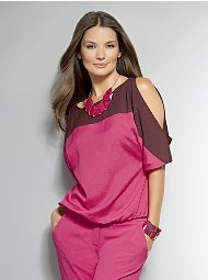 New York & Company - Colorblock Cold Shoulder Dolman Blouse, love the color combination: Knits Tops, Colorblock Cold, Blouses Ni, Dolman Blouses, Blouses Ny, Colors Combinations, Neck Tops, Shoulder Dolman, Cold Shoulder