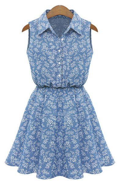 Stylish Shirt Collar Printed Sleeveless Denim Shirt Dress For Women