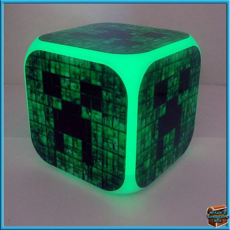 New Minecraft Creeper Light Up Led Alarm Clock Cube with ...