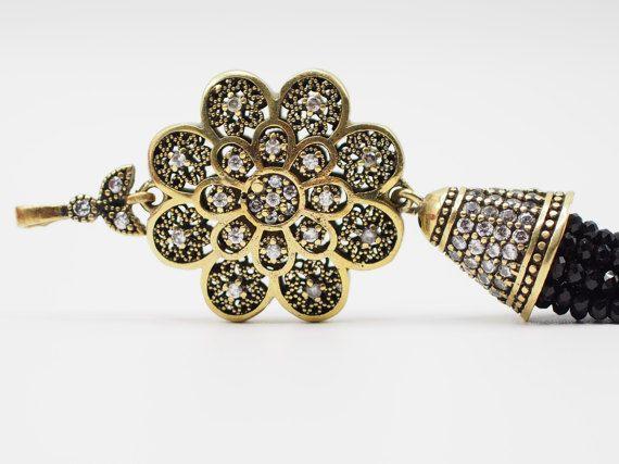 Tassel Pendant with Black Crystal Stone Jewelled Turkish