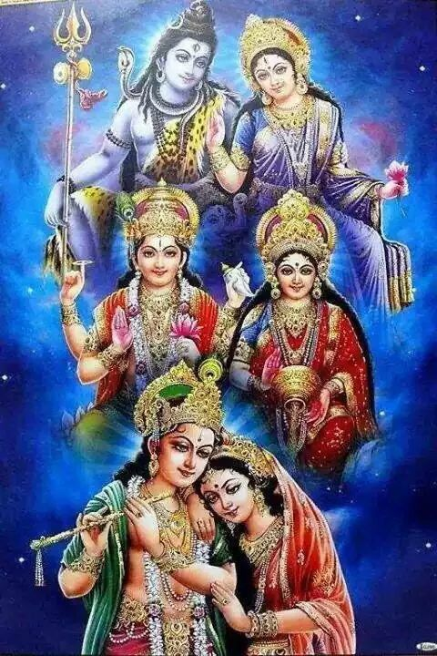 Divine hindu couples: shiva and parvati, vishnu and lakshmi, krishna and radha