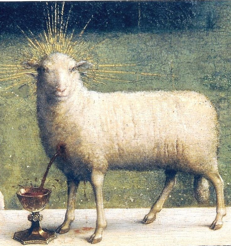Hubert & Jan van Eyck -- The Adoration of the Mystic Lamb, Ghent Altarpiece, 1432. Lamb of God, a symbol of Christ
