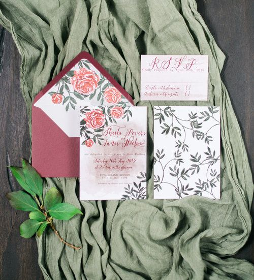 Peony invitation suite with red watercolour background by Lilly Cinnamon Wedding Stationery