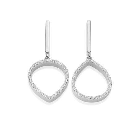 Naida Lotus Open Drop Earrings in Sterling Silver with Diamond | Jewellery by Monica Vinader