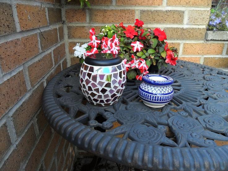 garden mosaic light up pot