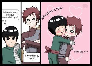 Rock Lee used Hug no Jutsu on Gaara!  It's super affective!