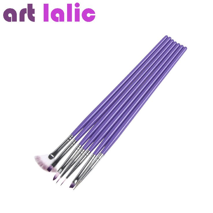 Heißer Lila Nail art Design Pinsel Maniküre Für Malerei Punktierung Werkzeug Pinsel Stift Set 7 STÜCKE