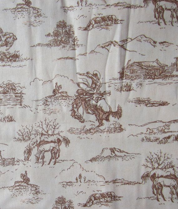 Vintage Cowboy Crib Sheets... Love these. Would go great with the color theme of the room.