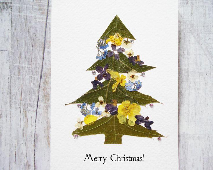 Christmas card Christmas Print Floral holiday card Christmas gift Pressed flower card Greeting card Holiday card Artists trading cards plant by FloralCollage on Etsy #Christmas #gift #pressedflowers #flowers #card #handmade