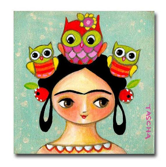 ORIGINAL portrait painting FRIDA Kahlo with OWL friends by tascha, $75.00
