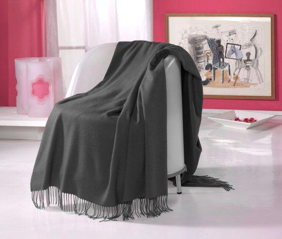 Puro Top qualità CASHMERE PLAID THROW coperta, colore grigio scuro, con frange Armony, per divano incartato nostri artigiani in Italia, spedizione gratuita