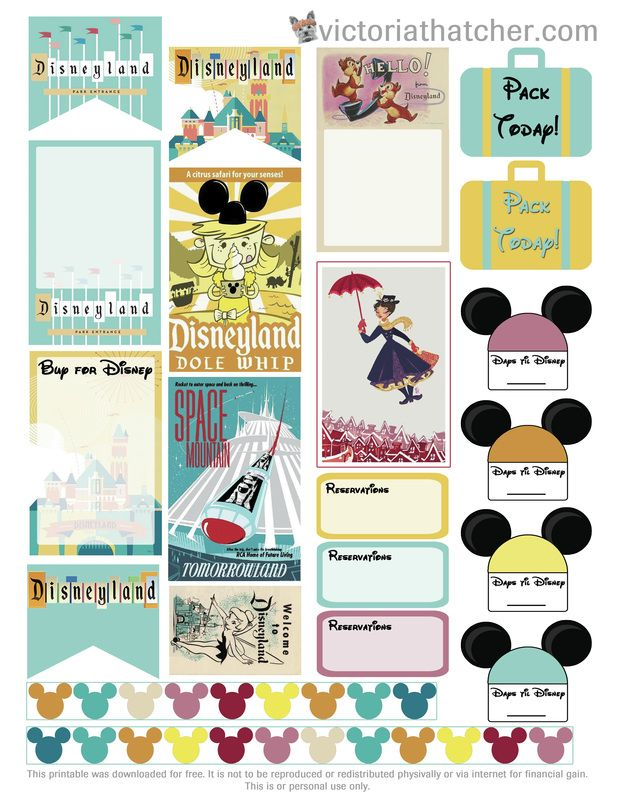 Free Disney Vacation Planner Stickers | Victoria Thatcher [note:links to gallery of more printables]