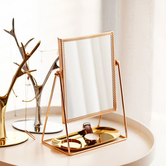 Brass Rectangle Mirror,desk mirror with heavy brass frame,Brass mirror,Rose gold mirror,decoration,D Yellow Home Accessories, Home Interior Accessories, Accessories Online, Desk Accessories, Rose Gold Mirror, Brass Mirror, Mirror Desk, Gold Bedroom Decor, Aesthetic Room Decor