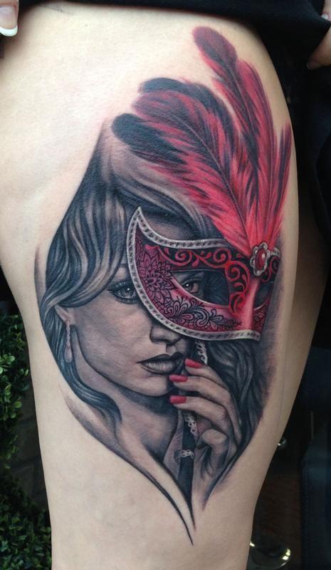 Masquerade tattoo by pepper tattoos masquerade tattoos for Mardi gras mask tattoo