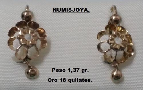 Año 1920/30. Pendientes de oro 18 Ktes. y zafiros blancos. Peso 1,37 gr. 24 mm. in Relojes y joyas, Vintage y joyería antigua   eBay