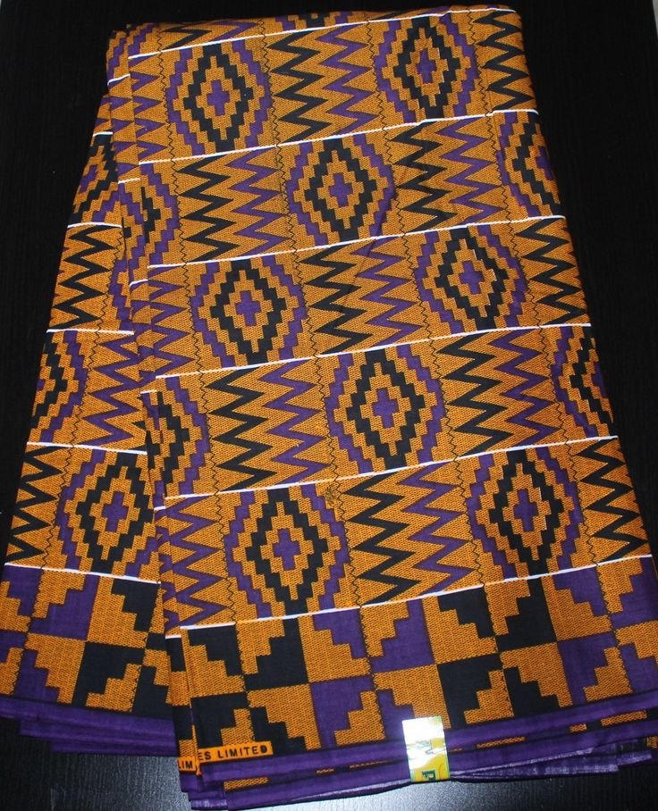 african print kente fabric (K002) brown with black and purple geometry sold per metre /african fashion / african fabric / african dress by BoSSiPrints on Etsy