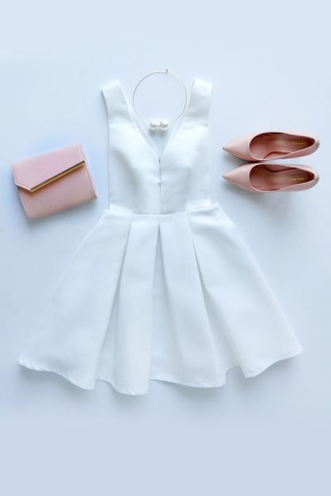 Simple Casual Chiffon Short Mini Homecoming Dresses A Line White Prom Dress Sweet 16 Gown