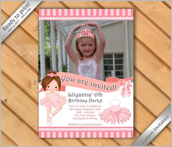 50% OFF SALE Ballerina photo Invitation Ballet by Funparty2015