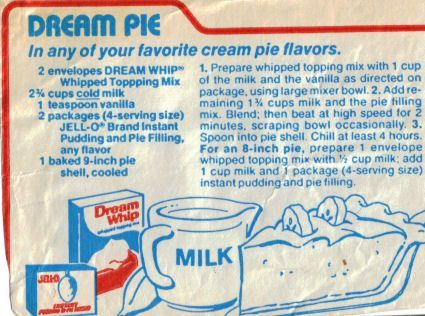 Dream Pie. i used to make this.  It is simple enough a kid can make it.  Use  fat free/ sugar free pudding and skim milk to make a skinnier version.