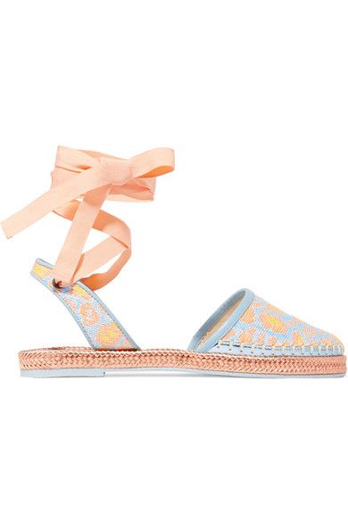 Sole measures approximately 20mm/ 1 inch Sky-blue, peach and yellow jacquard Ties at ankle Designer color: Tropical Woven Leopard