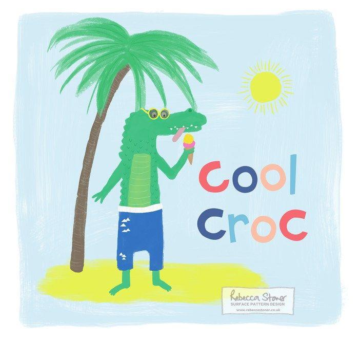 Cool Croc by Rebecca Stoner Crocodile Rock by Rebecca Stoner #animalalphabet2016 #crocodile #kidsdesign #childrensdesign