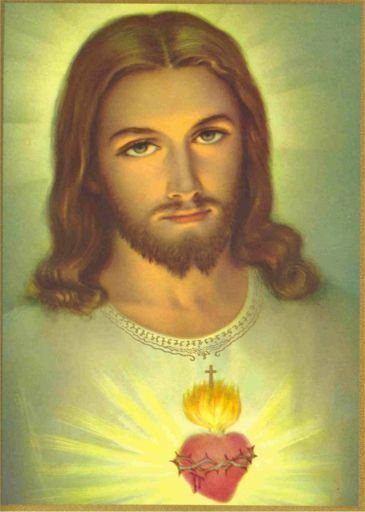 "PAINTINGS OF JESUS SACRED HEART. We have this painting in our home....when our house burned in 1997, our church gave us some new ""furnishings"" and our beloved Priest made sure we had this....and he came to our new home, blessed it, blessed this painting and helped us hang it! It's a source of great comfort."